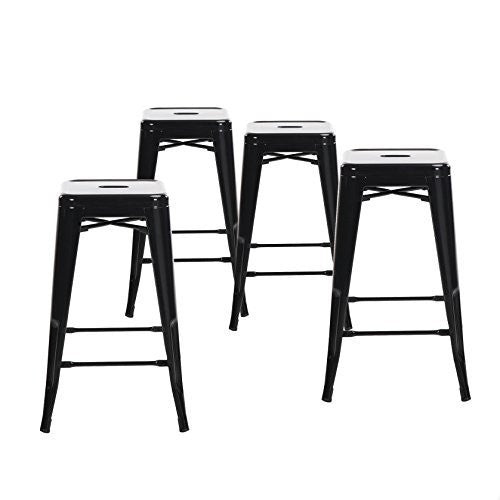 "Buschman Set of Four 24"" Industrial Metal Stackable Backless Barstools"