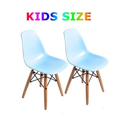 Buschman Set of Two Blue Kids Dining Room Mid Century Chair Wooden Legs Armless Chairs