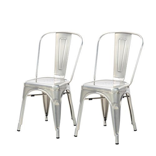Buschman Set Of Two Dining Room Industrial Metal Stackable Chairs With Back