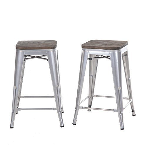 "Buschman Set of Two 24"" Industrial Metal Stackable Backless Barstools with Wooden Seat"