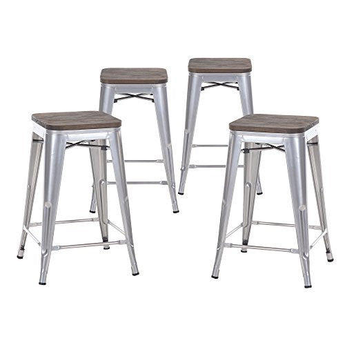 "Buschman Set of Four 24"" Industrial Metal Stackable Backless Barstools with Wooden Seat"