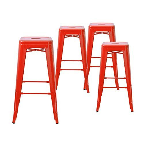 "Buschman Set of Four 30"" Industrial Metal Stackable Backless Barstools"