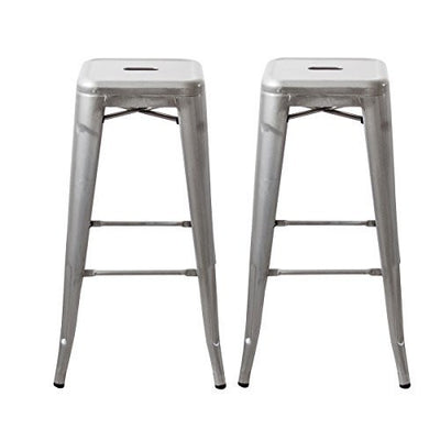 "Buschman Set of Two 30"" Industrial Metal Stackable Backless Barstools"