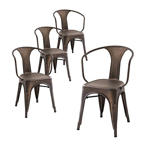 Buschman Set of Four Dining Room Industrial Metal Stackable Armchairs
