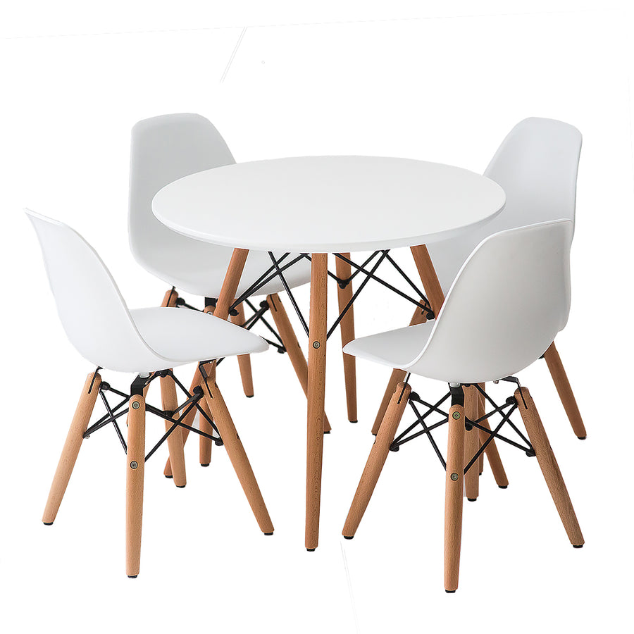 Buschman Set of Kids' Mid Century Modern Wooden Round Table and Four Plastic Armless Chairs
