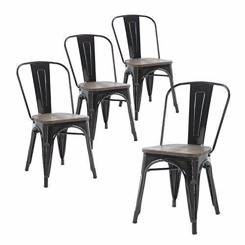 Buschman Set of Four Black Dining Room Industrial Metal Stackable Chairs With Back and Wooden Seat