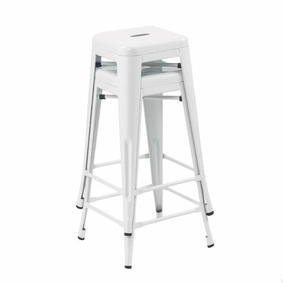 Buschman Set of 2 White 24 Inch Counter Height Metal Bar Stools, Indoor/Outdoor, Stackable