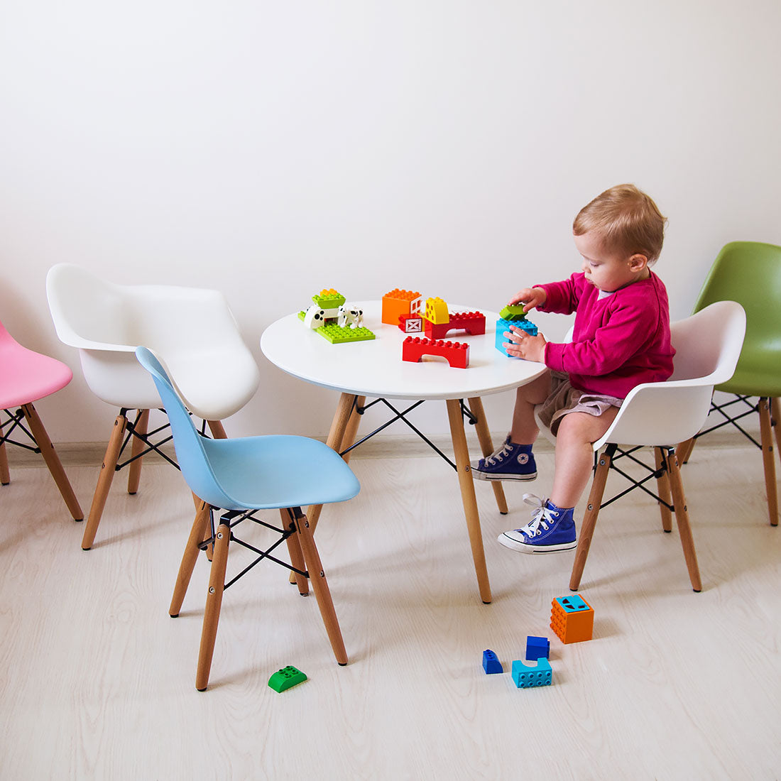 Set of White Style Kids Table and Two Chairs, Armchairs