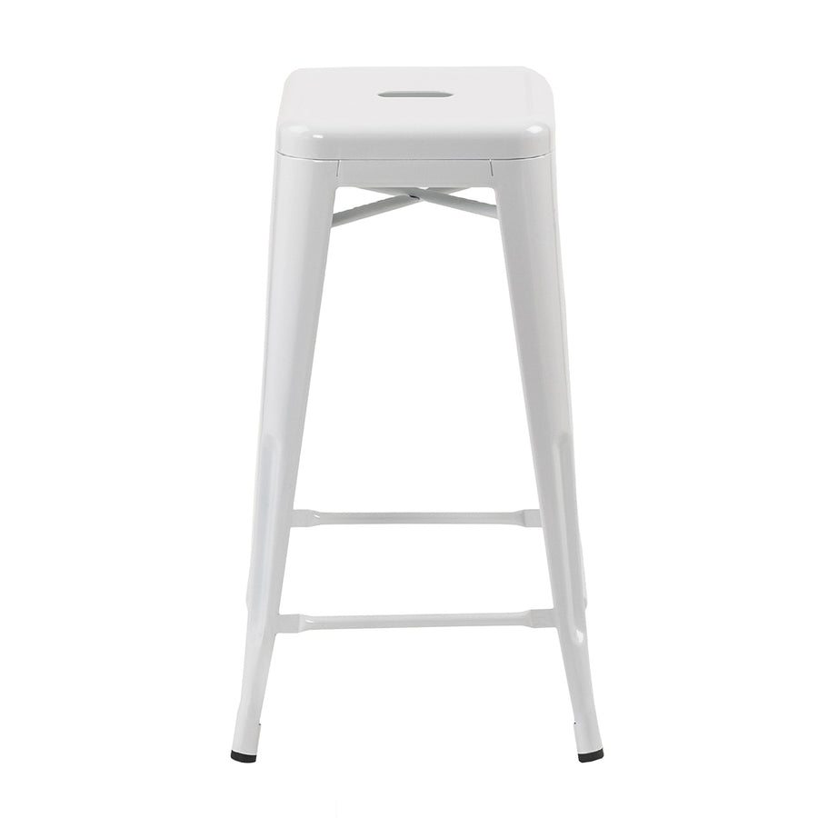 "Buschman Metal Bar Stools 30"" Bar Height, Indoor/Outdoor and Stackable, Set of 4 (White)"