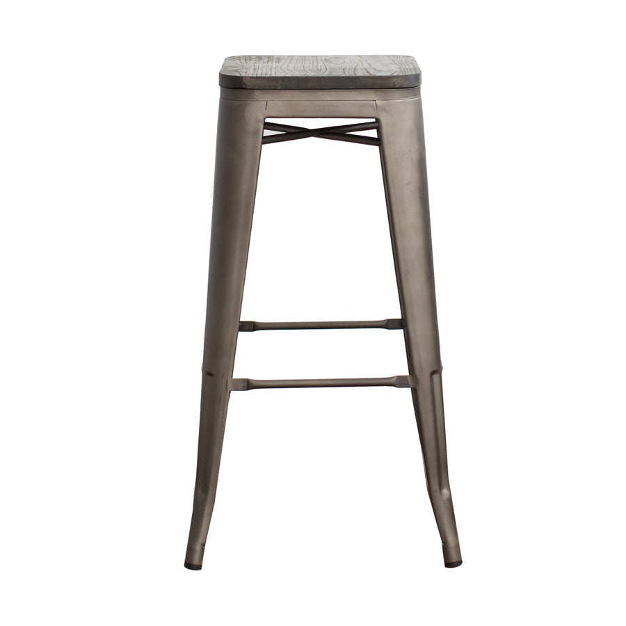 "Buschman Metal Bar Stools 30"" Bar Height, Indoor/Outdoor and Stackable, Set of 4 (Bronze with Wooden Seat)"