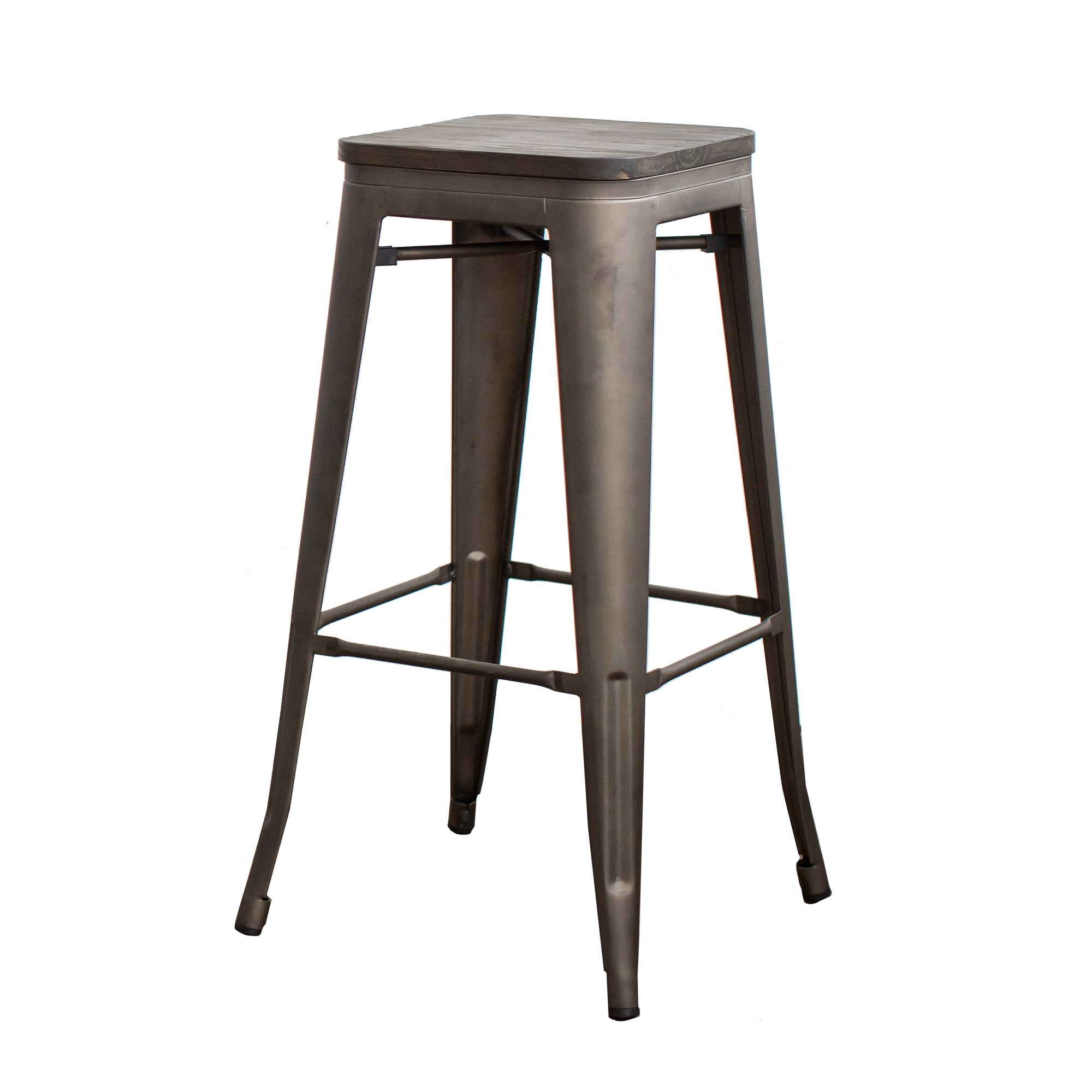 30 Inch Metal Bar Stools With Wooden Seat Set Of 4 Buschman Store