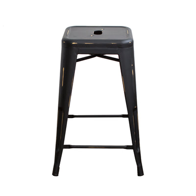 "Buschman Set of Four Antique Black 24"" Industrial Metal Stackable Backless Barstools"