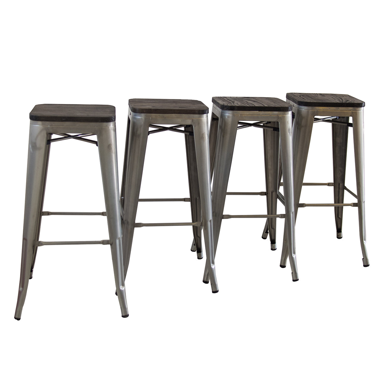 Remarkable Buschman Metal Bar Stools 30 Bar Height Indoor Outdoor And Stackable Set Of 4 Galvanized With Wooden Seat Onthecornerstone Fun Painted Chair Ideas Images Onthecornerstoneorg
