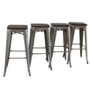 "Set of 4 Galvanized Wooden Seat 30"" Bar Height Metal Bar Stools"
