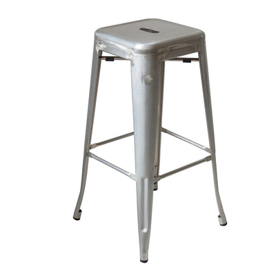 Buschman Set of 4 Zinc Galvanized 30 Inch Bar Height Metal Bar Stools, Indoor/Outdoor Stackable