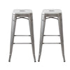 Buschman Set of 2 Galvanized 30 Inch Bar Height Metal Bar Stools, Indoor/Outdoor, Stackable