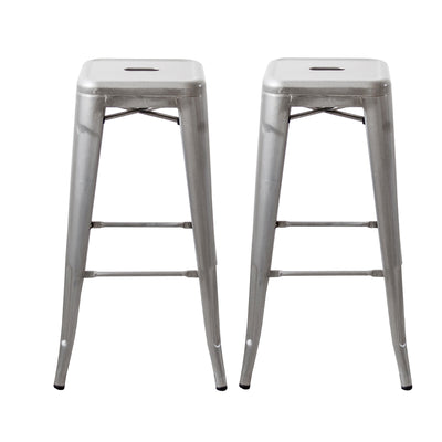 "Buschman Set of Two Galvanized 30"" Industrial Metal Stackable Backless Barstools"