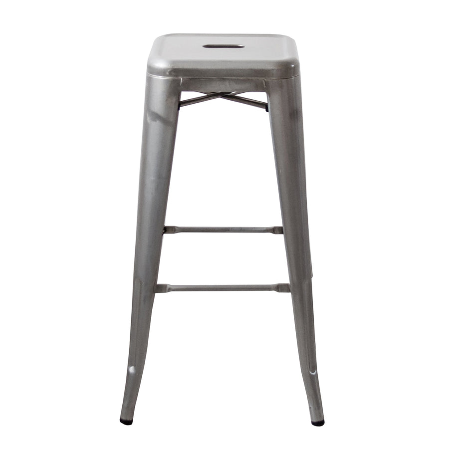 Buschman 30 Inch Galvanized Metal Bar Stools, Set of 4, Indoor/Outdoor, Stackable