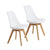 Buschman Set of Two White Mid Century Modern Dining Room Wooden Legs Soft Padded Chairs