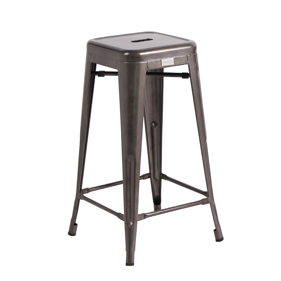 Buschman Set of 4 Gun Metal 30 Inch Bar Height Metal Bar Stools, Indoor/Outdoor Stackable