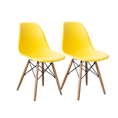 Buschman Set of 2 Yellow Chairs, Mid Century Modern Dining Chairs