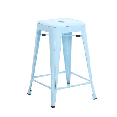 "Buschman Set of Four Antique Blue 24"" Metal Stackable Backless Barstools"