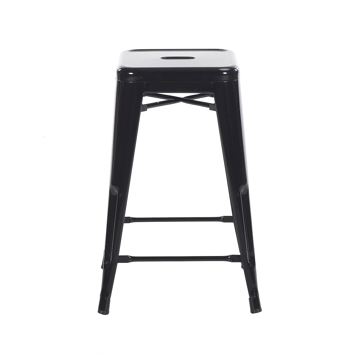 "Buschman Metal Bar Stools 24"" Counter Height, Indoor/Outdoor and Stackable, Set of 2 (Black)"