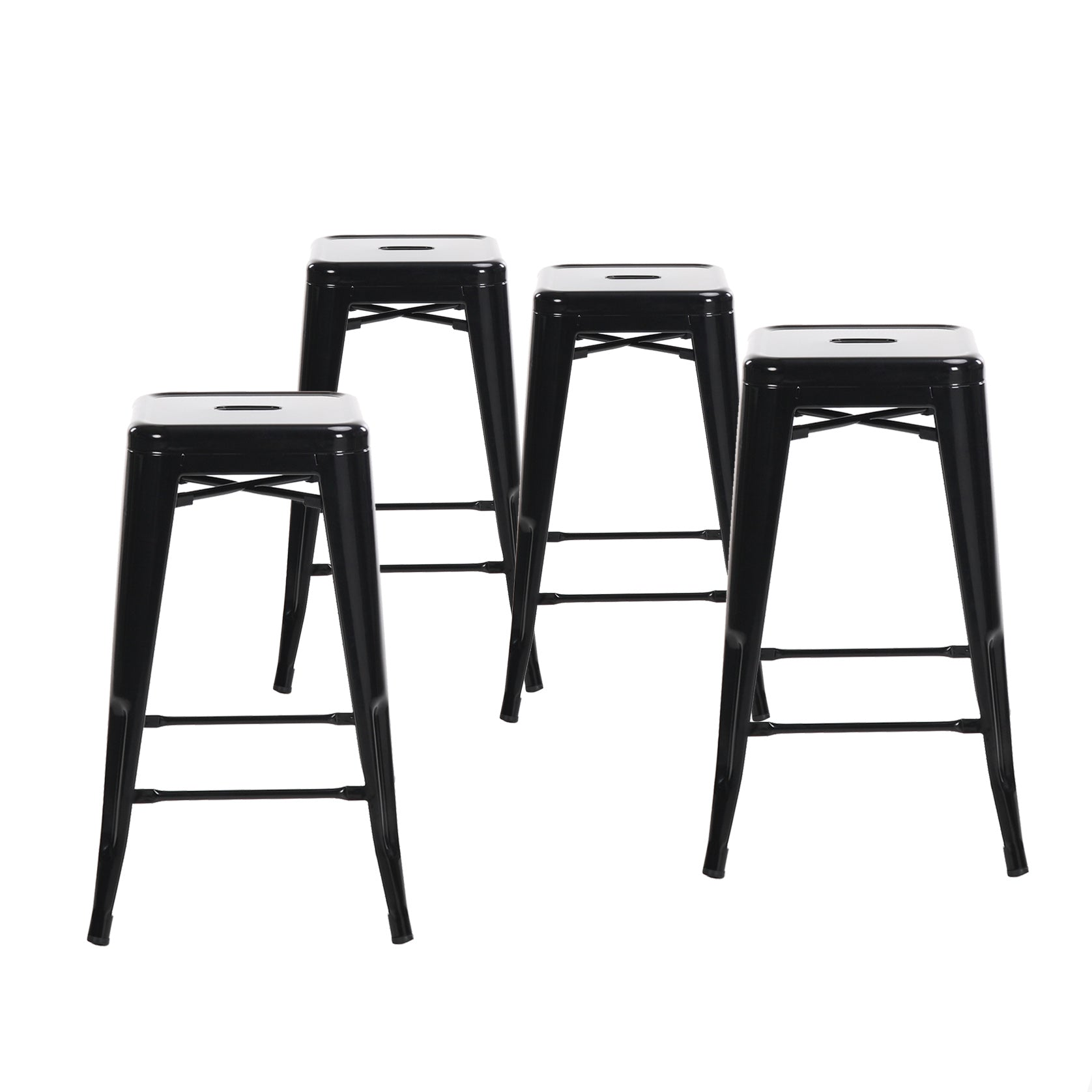 "Buschman Metal Bar Stools 24"" Counter Height, Indoor/Outdoor and Stackable, Set of 4 (Black)"