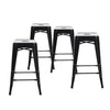 Buschman Set of 4 Black 24 Inch Counter Height Metal Bar Stools, Indoor/Outdoor Stackable