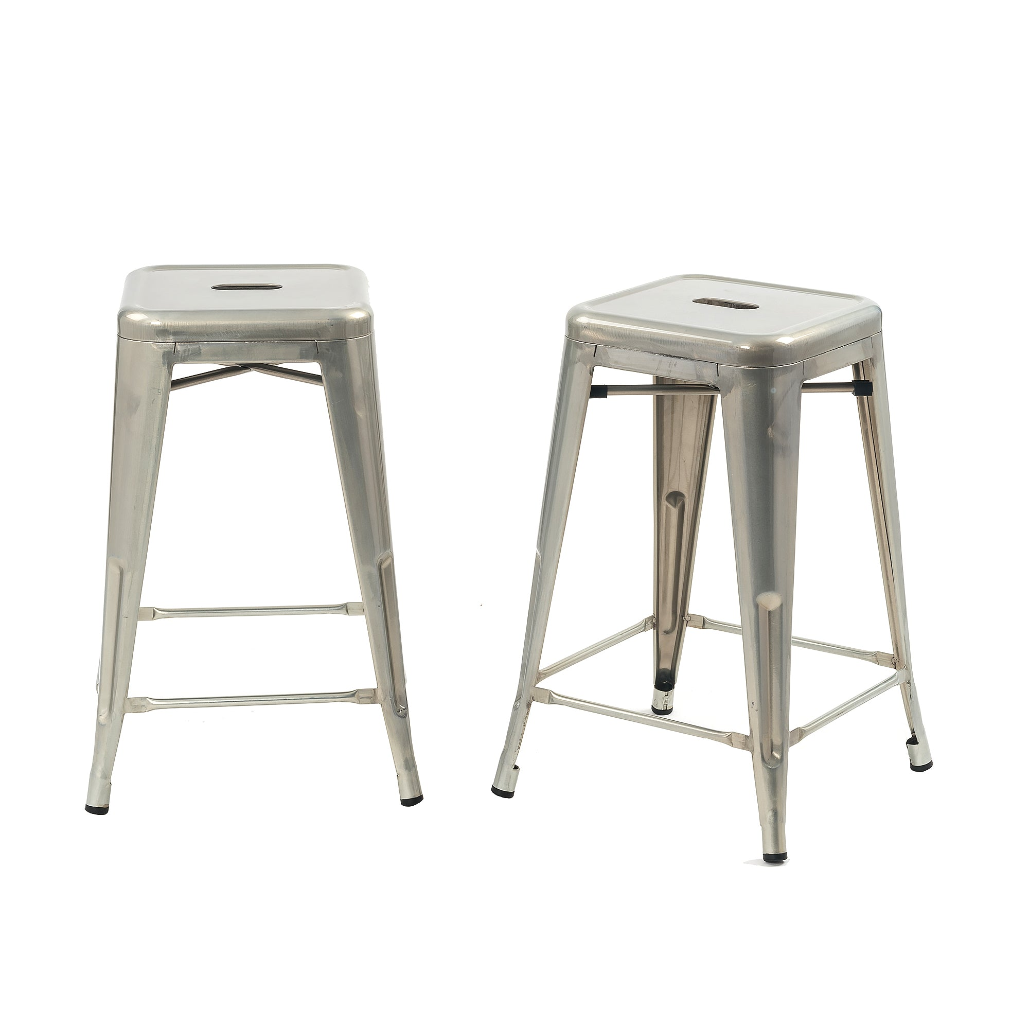 Buschman Set Of 2 Galvanized 24 Inch Counter Height Metal Bar Stools
