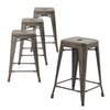 "Buschman Set of Four Bronze 24"" Industrial Metal Stackable Backless Barstools"