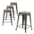 Buschman Set of 4 Bronze 24 Inch Counter Height Metal Bar Stools, Indoor/Outdoor Stackable