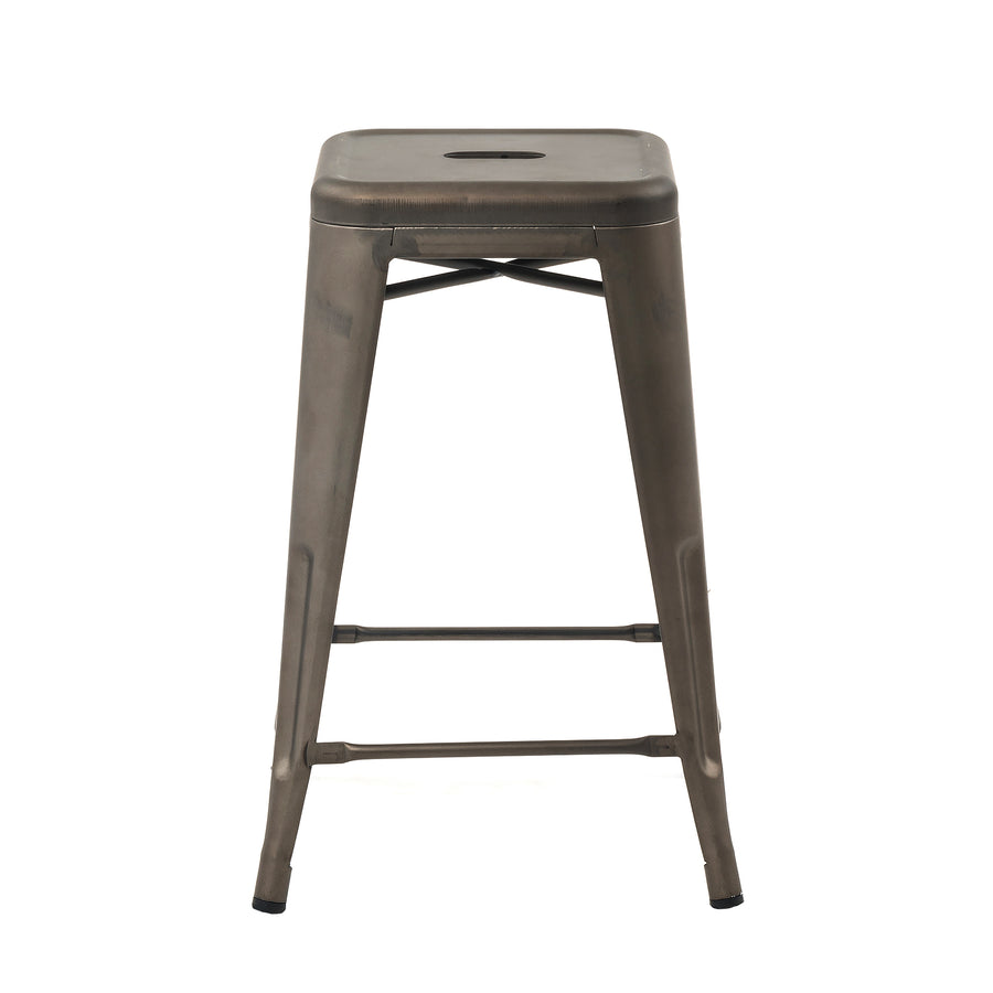 "Buschman Metal Bar Stools 24"" Counter Height, Indoor/Outdoor and Stackable, Set of 4 (Bronze)"