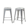 Buschman Set of 2 Grey 24 Inch Counter Height Metal Bar Stools, Indoor/Outdoor, Stackable