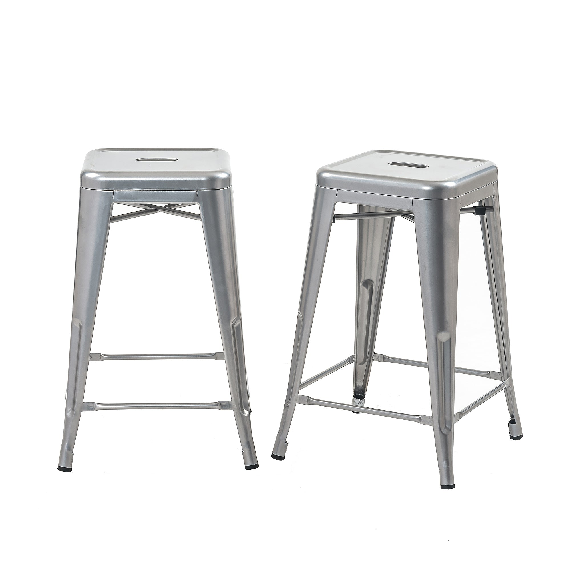 Buschman Set Of 2 Grey 24 Inch Counter Height Metal Bar Stools