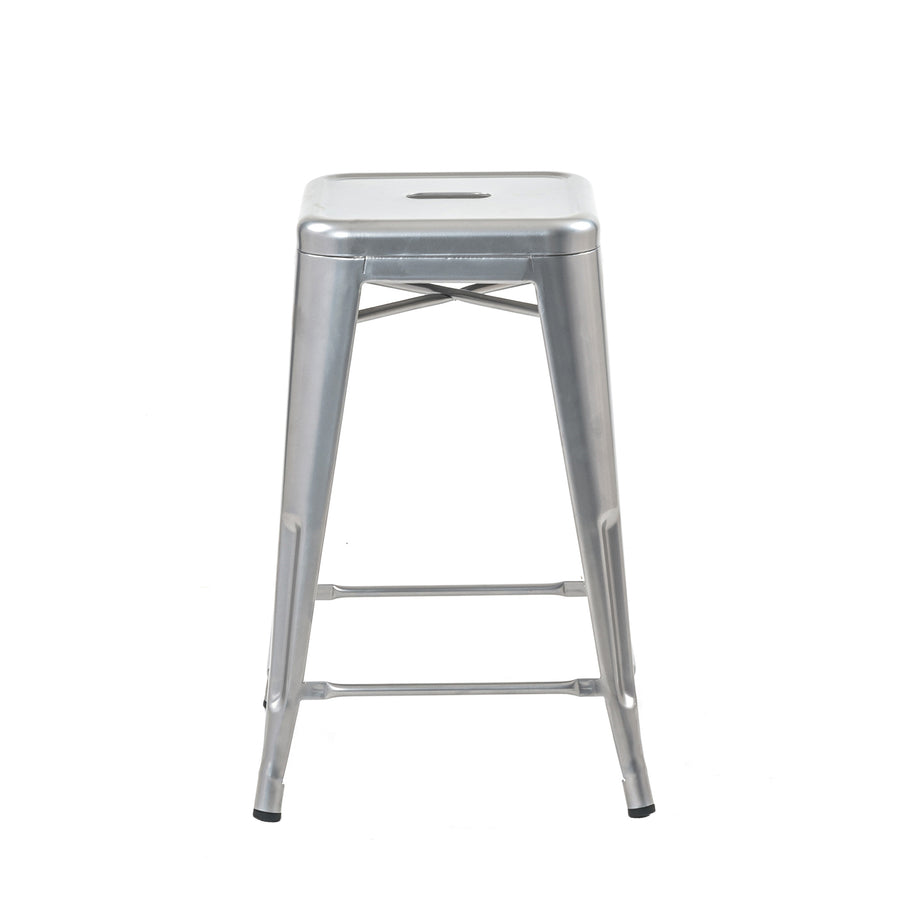 Buschman Set of 4 Grey 24 Inch Counter Height Metal Bar Stools, Indoor/Outdoor Stackable