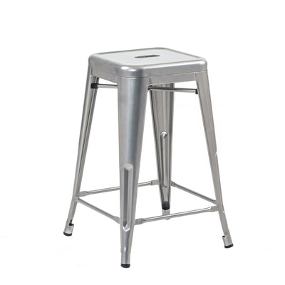 "Buschman Set of Four Gray 24"" Industrial Metal Stackable Backless Barstools"