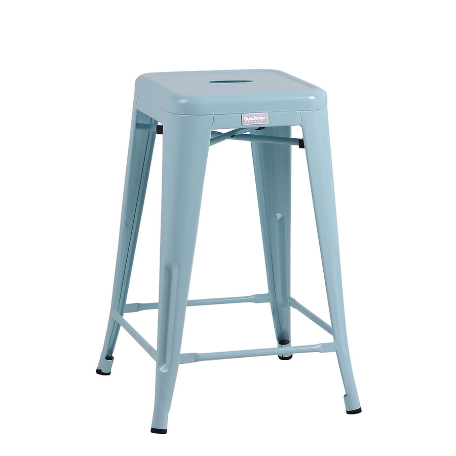 "Buschman Metal Bar Stools 24"" Counter Height, Indoor/Outdoor and Stackable, Set of 4 (Light Blue)"