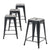 Buschman Set of 4 Matte Black 24 Inch Counter Height Metal Bar Stools, Indoor/Outdoor Stackable