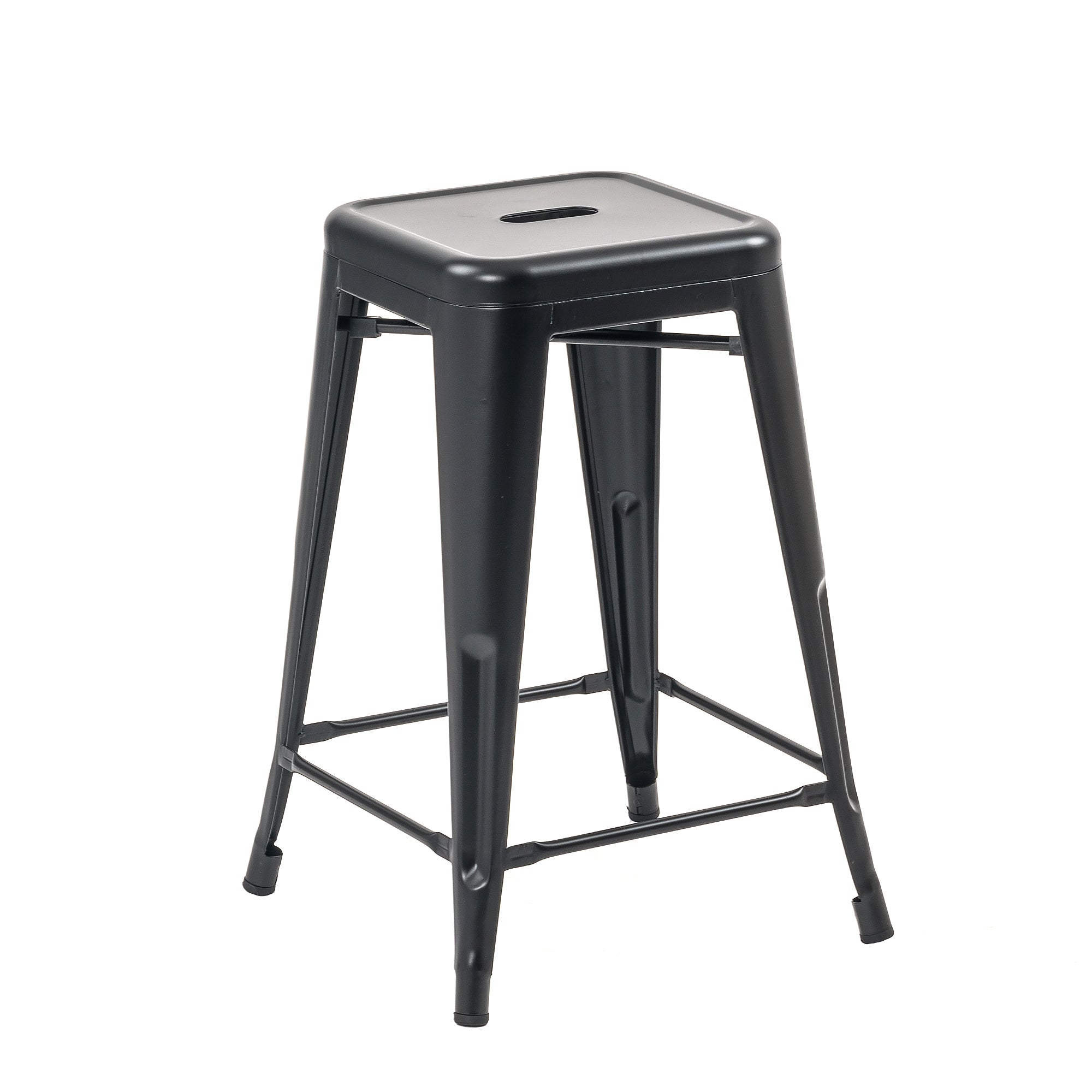 Sensational Buschman Set Of 2 Matte Black 24 Inch Counter Height Metal Bar Stools Indoor Outdoor Stackable Ibusinesslaw Wood Chair Design Ideas Ibusinesslaworg