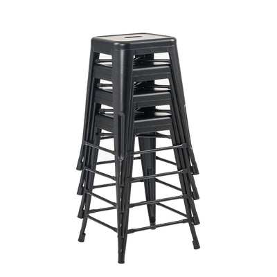 "Buschman Set of Four Matte Black 24"" Industrial Metal Stackable Backless Barstools"
