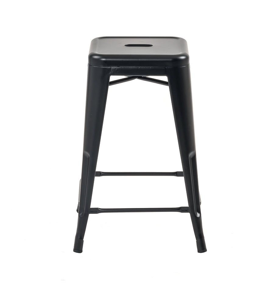 Buschman Set of 2 Matte Black 24 Inch Counter Height Metal Bar Stools, Indoor/Outdoor, Stackable