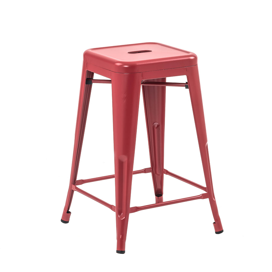 Buschman Set of 4 Matte Red 24 Inch Counter Height Metal Bar Stools, Indoor/Outdoor Stackable