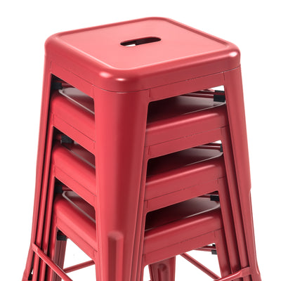 "Buschman Set of Four Matte Red 24"" Industrial Metal Stackable Backless Barstools"