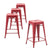"Buschman Metal Bar Stools 24"" Counter Height, Indoor/Outdoor and Stackable, Set of 4 (Matte Red)"
