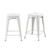 Buschman Set of 2 Matte White 24 Inch Counter Height Metal Bar Stools, Indoor/Outdoor, Stackable