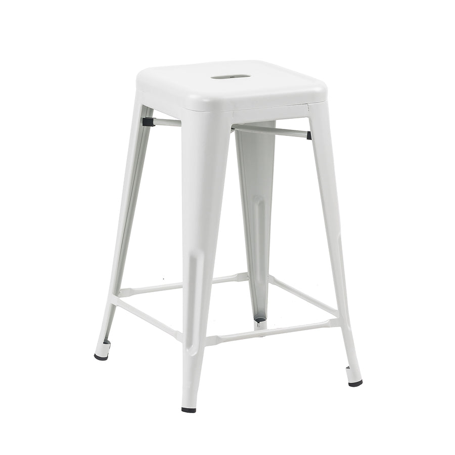 "Buschman Store Metal Bar Stools 24"" Counter Height, Indoor/Outdoor and Stackable, Set of 4 (Matte White)"