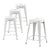 Buschman Set of 4 Matte White 24 Inch Counter Height Metal Bar Stools, Indoor/Outdoor Stackable