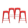 "Buschman Set of Four Red 24"" Industrial Metal Stackable Backless Barstools"