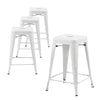 "Buschman Set of Four White 24"" Industrial Metal Stackable Backless Barstools"